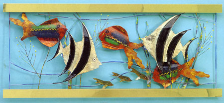 Aquarium metal wall sculpture