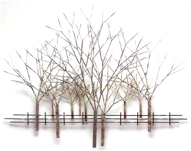 winter orchard metal wall sculpture