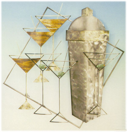martinis and manhattans metal wall sculpture