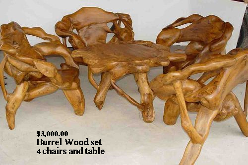 burl wood benches
