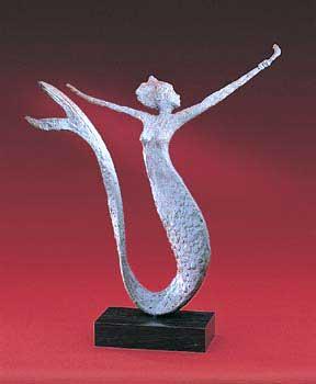 1094_WB Miranda Table Top Metal Art, 1094 Abstract Animal Figures,  Representation Of Modern Contemporary Brass Bronze Copper Sculptures Mermaid