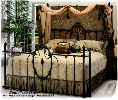 Elliott S Designs Emily Wrap 484 Complete Bed Half Canopy Wrought Rod Iron Beds Antique Reproductions Camas De Hierro Forjado
