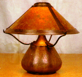 Mica lamps beanpot table lamp 007 also available hand hammered copper finish mozeypictures Images